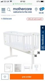Mothercare swinging crib with mattress