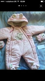Baby girl snowsuit age 0-3 months