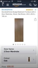 Brand New Oak Wardrobe and 5 Drawer Chest of Drawers