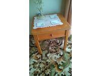 Fire Side Table with Single Drawer in Yew Hardwood