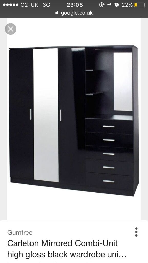 black gloss triple wardrobe with built in dressing table