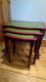 Lovely mahogany effect leather topped nest of side tables and 3 tier shelf