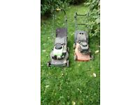TWO PETROL LAWNMOWERS FOR SALE - spares or repair