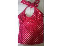 Jojo maman bebe maternity red and white polka-dot tankini size medium.