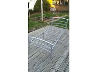 Single bed frame - silver, good condition