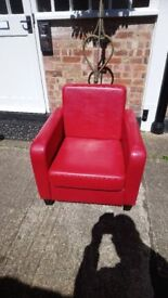 Matching pair of modern red chairs ideal for reception/waiting room