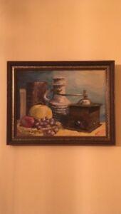 Vintage Oil on Board Artist Ingrid Fruit Books Jug Grinder