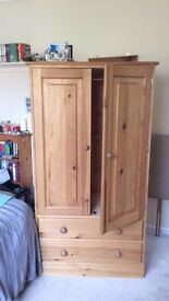Solid pine wardrobe with two doors and drawers