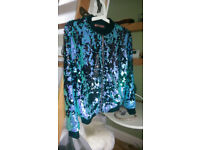 Brand New QED LoNDoN SEQUIN BOMBER JACKET, size S