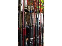over 20 uptide and boat fishing rods going for £ 10 EACH