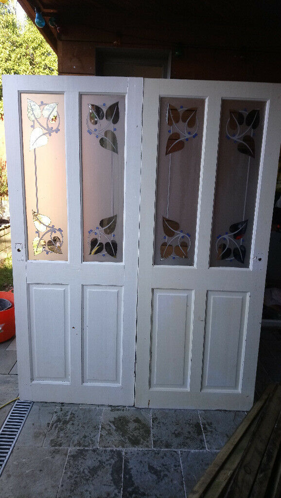 2 Glazed Art Deco Style Interior Doors 78x30 198x76cm Upcycle Opportunity Only 20 Pair
