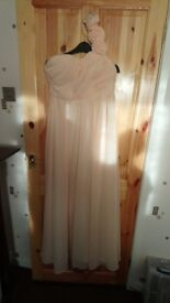 2x peach bridesmaid/ prom dresses size 12 and size 14