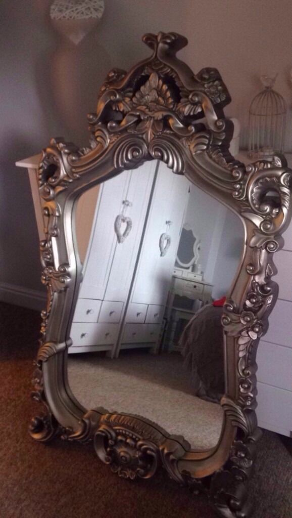 Large Ornate Wall Mirror Dunelm Pewter Bronze In