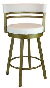 Gold Metal Frame Round Swivel Counter Stool with White Seat n Backrest