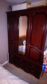 Great Condition Mahogany wardrobe and matching bed side table only £100