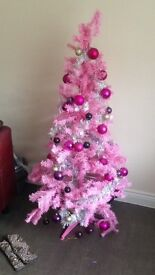 Pink Christmas tree with decs