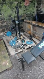 Cast iron weight, various bars and bench. ***Reduced*** £175 o.n.o.