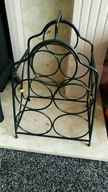 Plastic coated metal wine bottle rack
