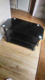 Black three tier TV stand