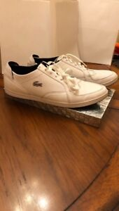 Lacoste Low White Leather Shoes SRM Mens Size 10.5