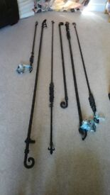 Wrought iron curtain poles