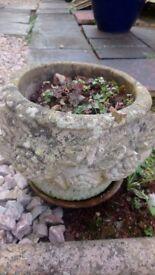 Garden ornament Old stone garden pot