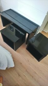 Black gloss coffe table with two side tables which fit underneath .REDUCED.