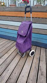 Purple shopping trolley