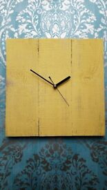 Rustic recycled square wooden clock with yellow painted finish and black hands