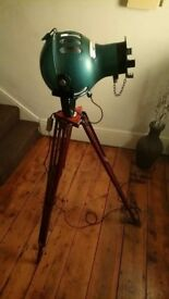 1960s theatre light mounted on antique asford wooden tripod