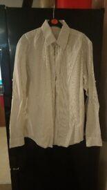 Mens cream black striped shirt. Size Medium.