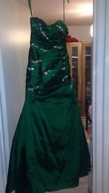 Emerald green fish tail formal dress