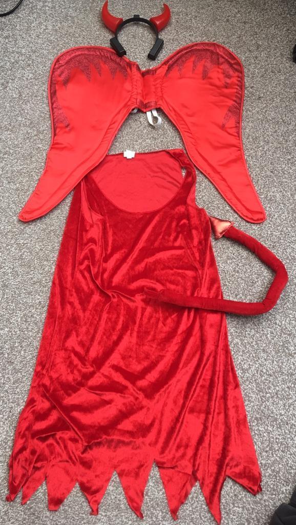 Halloween ladies Red Devil fancy dress up costume