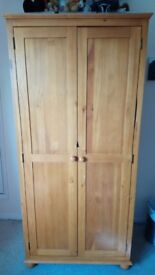 Waxed Pine 2-Door Double Wardrobe, with 1 full-width hanging rail and 1 shelf inside