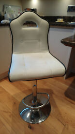 2 Faux leather barstools, gas lift, white with black trim, £30 for pair