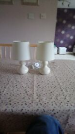 Cream bedside lamps