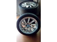 "17"" Turbine Ace Alloy Wheels 5x112 225/45/17 Tires Mercedes Poss Fit Audi VW"