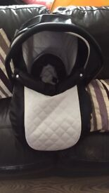 black and white leather car seat