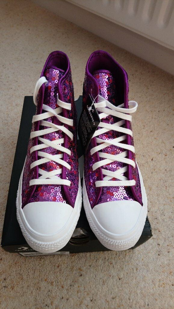 afa6b47ac Converse All Star Holiday Scene Sequin Violet Purple Hi Tops Size 6 BNWT   Box