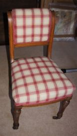 Six Victorian Upholstered Dining Chairs with Upholstered backs.
