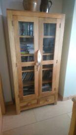 Soild oak book case / display cabinet