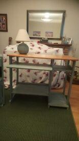 Desk, bedside cabinet , lamp