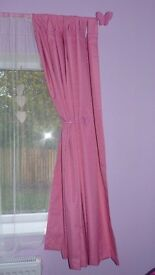 pink curtains with butterfly
