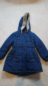 Girl's Warm padded Navy Coat Jacket, by Jasper Conran – Age 4-5