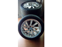 17 Inch Turbine Alloy Wheels 5x112 225/45/17 Tires Mercedes Poss Fit Audi VW