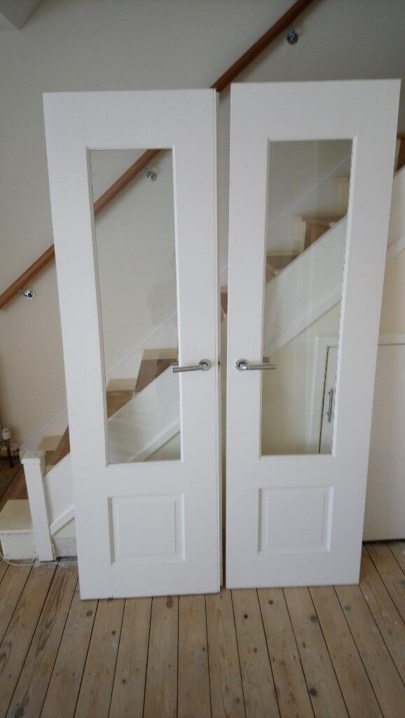 2 Solid Wood Internal Doors With Glass Panels In Newcastle Tyne