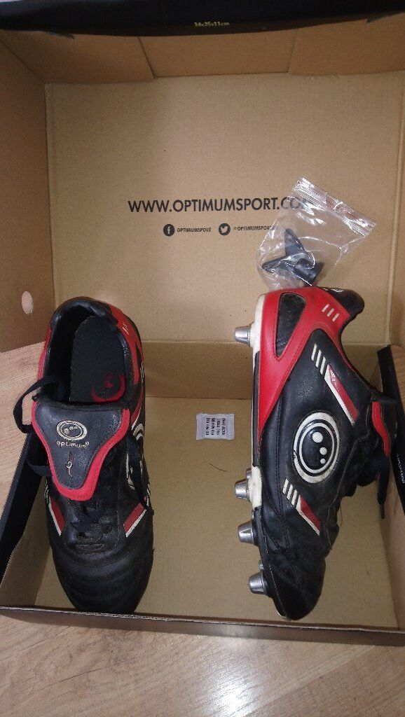 Black rugby boots, worn but in good condition, size 10 (44)