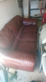 Red leather sofa 3 seat