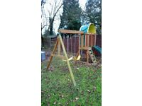 Outdoor selwood wooden play area centre swings slide