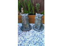 Pair of Stone Chinese Guardian Foo / Fu Dogs (lions) ornaments, 41cm